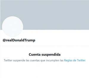 cuenta suspendida de Trump