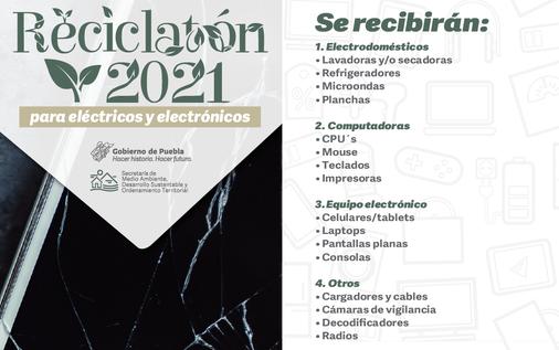 ¿Tienes artículos electrónicos que ya no usas? Déjalos en el Reciclatón Puebla 2021