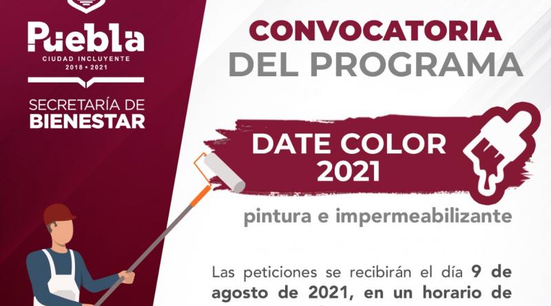 Participa en DATE COLOR 2021; programa del municipio de Puebla que apoya con pintura e impermeabilizante   Consulta las bases