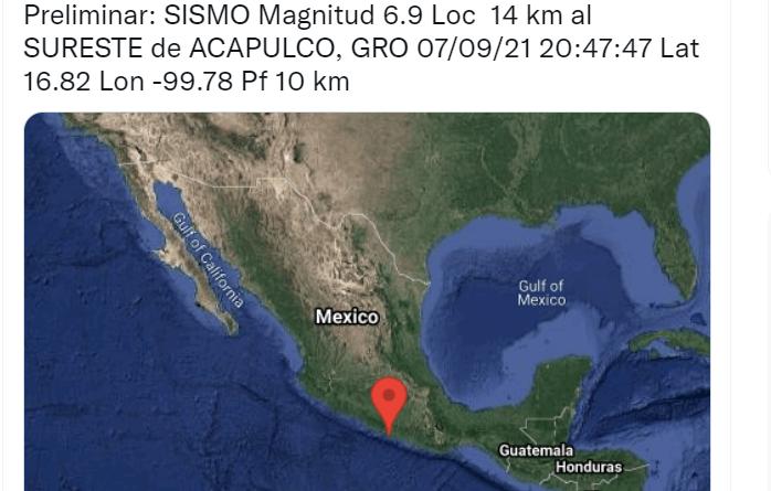 Sismo de 6.9 sacude centro y sureste de México la noche del 7 de septiembre de 2021