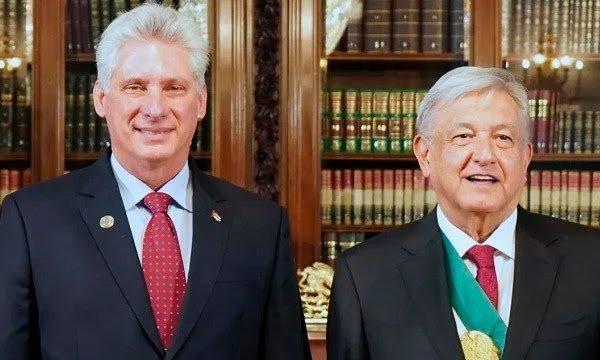 Diáz Canel junto con Andrés Manuel López Obrador