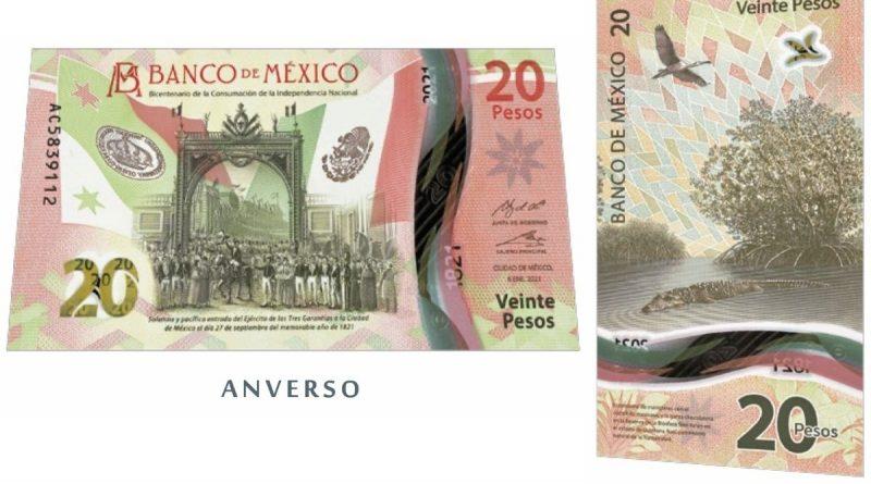 Ya circula el nuevo billete de $20 pesos mexicanos, conmemorativo de Bicentenario de la Independencia y de Manglares Mayas