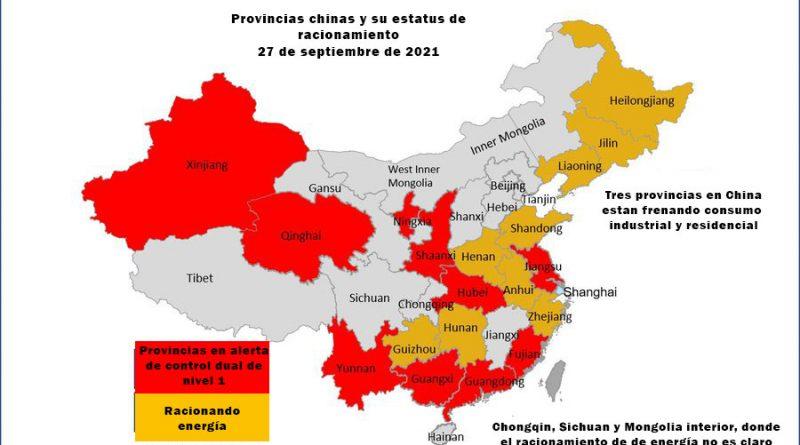 Mapa de racionamiento de energía en China