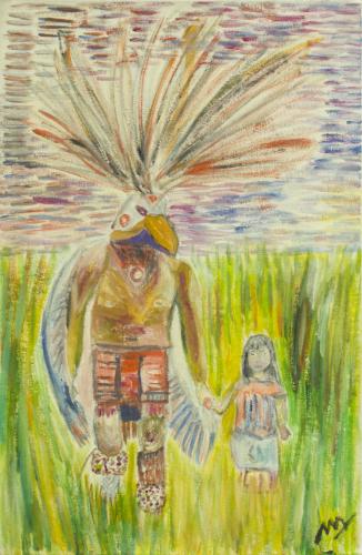 Danzante mexicano con su hija